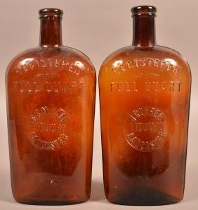 Two Lancaster, PA Amber Flask Bottles.