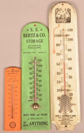 3 Lancaster Co., PA Advertising Thermometers.