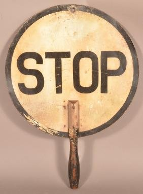 Vintage Double Sided Crossing Guard Stop Sign.