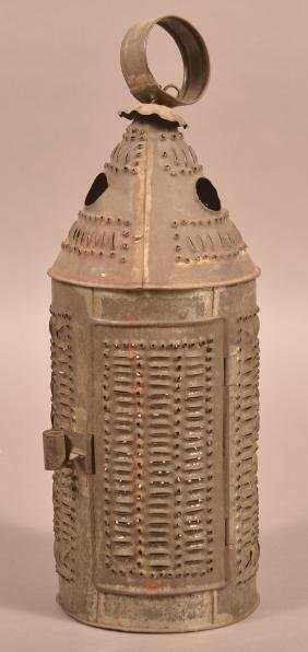19th Century Punch Tin Candle Lantern.