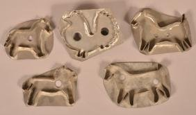 Five American 19th Century Tin Cookie Cutters.