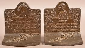 Longfellow's Hiawatha Poem Cast Iron Bookends.