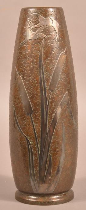 Silver Crest Large Sterling Overlay Bronze Vase.