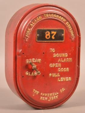 Vintage Cast Iron Fire Alarm Telegraph Station.