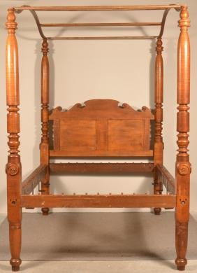 PA Federal Tiger Maple Poster Canopy Bed.