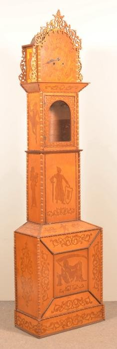 Late 19th Century Folk Art Inlaid Tall Case Clock.