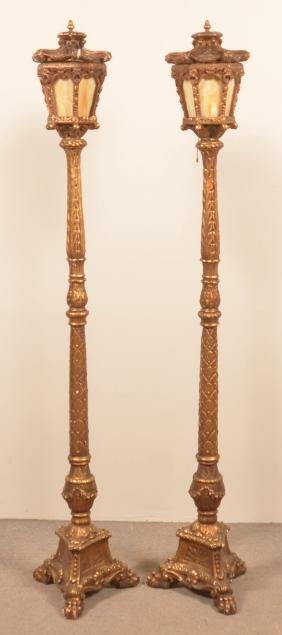 Pair of Ornate Vintage Gilt Torche' Floor Lamps.