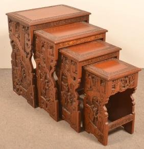 Nest of Four Oriental Rosewood Side Tables.