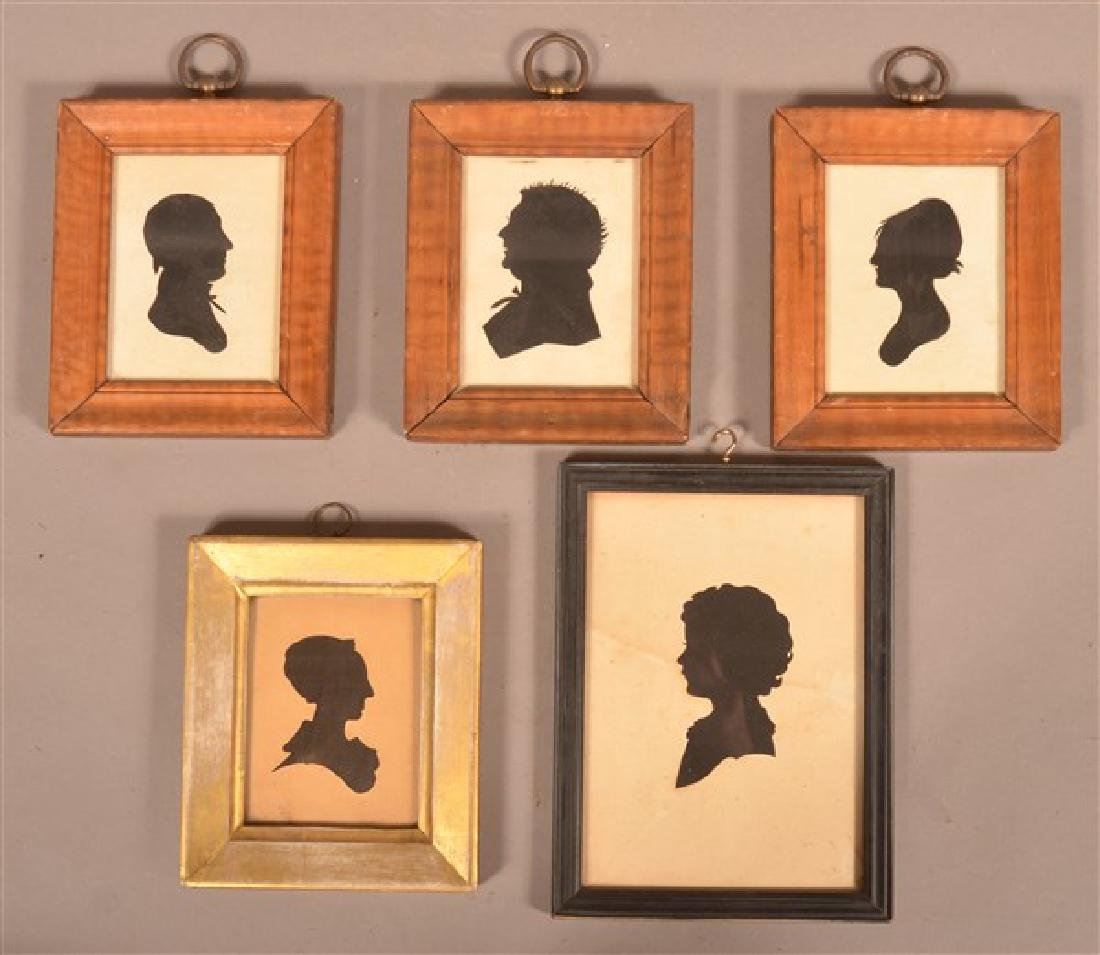 Five Various Framed Antique Silhouettes.