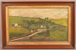 19th century Oil on Canvas Farm Scene Painting.
