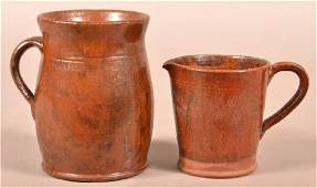 Two Pieces of Antique Mottle Glazed Redware.