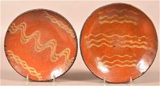 Two Pennsylvania 19th Century Redware Plates.