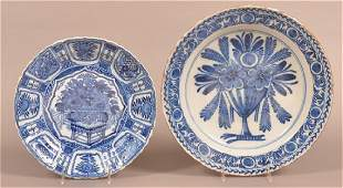 Two Various Pieces of Blue and White Glazed China.