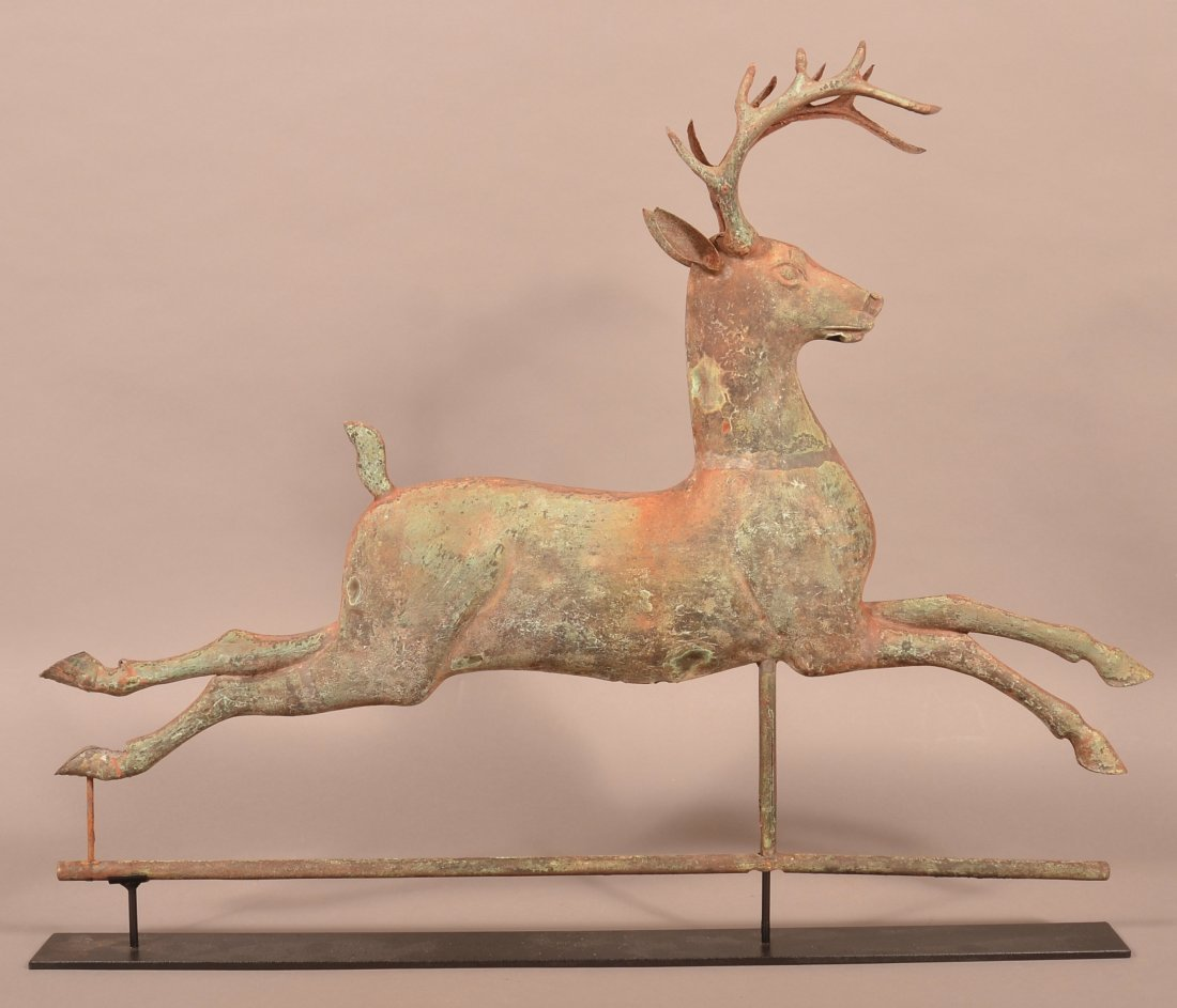 Leaping Stag Copper Weathervane Attr. to J.W. Fiske.
