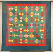 Antique Diamond Block Pattern Patchwork Quilt.