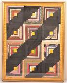 Antique Log Cabin Pattern Patchwork Crib Quilt.