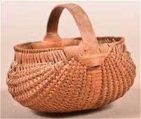 Pennsylvania 19th Century Woven Oak Splint Egg Basket.