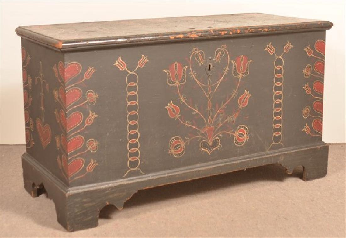 Berks County, PA Decorated Softwood Dower Chest.