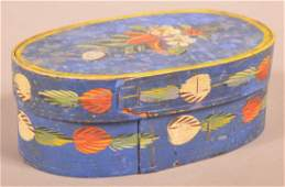 Continental Polychrome Decorated Oval Bentwood Box.