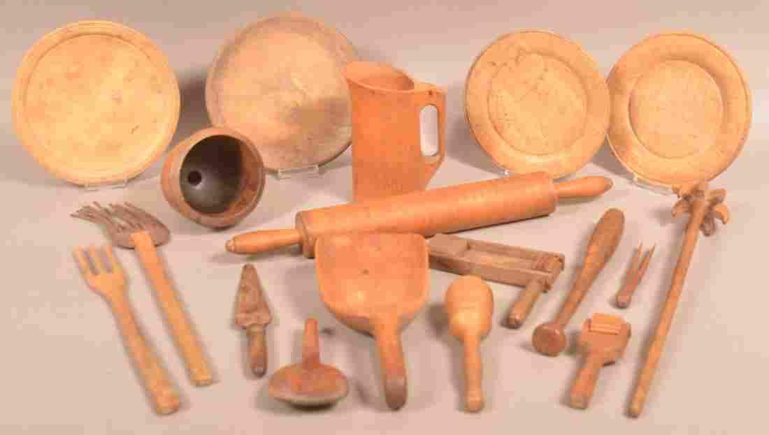 18 Pieces of Antique Wood Utilitarian Wares.