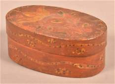Berks County, PA Decorated Oval Bentwood Band Box.