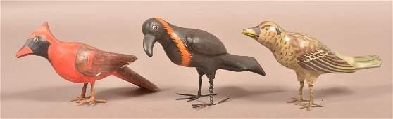 """Three Vintage Folk Art Birds signed """"Texter""""."""