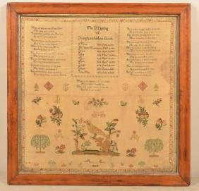 Fine Needlework Family Record Sampler Dated 1824.