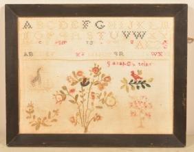 19th Century Rowed Type Needlework Sampler.