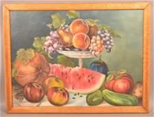 Late 19th Century Oil on Canvas Fruit Still Life