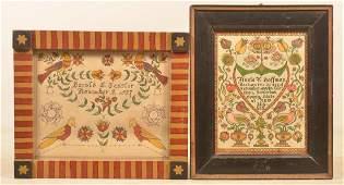 Two R. Apgar Vintage Folk Art Fraktur Drawings.