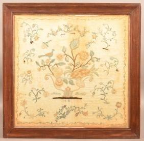 """Silk Needlework Sampler Signed """"mary Betts 1808""""."""