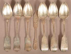 Seven Various Pieces Of Antique Coin Silver.