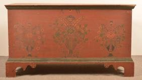 Very Fine & Rare Joel Palmer Decorated Blanket Chest.