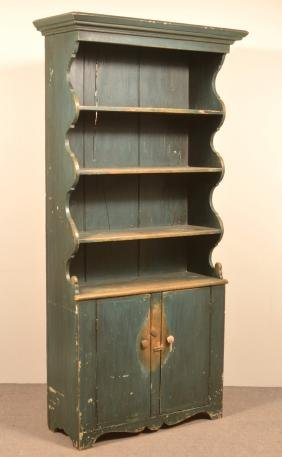 Antique Hudson River Valley Softwood Pewter Cupboard.