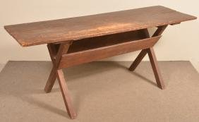 Antique Softwood Saw-buck Base Table.