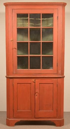 Pa 19th Century Softwood Two Part Corner Cupboard.