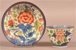 Gaudy Dutch China Carnation Pattern Cup and Saucer.