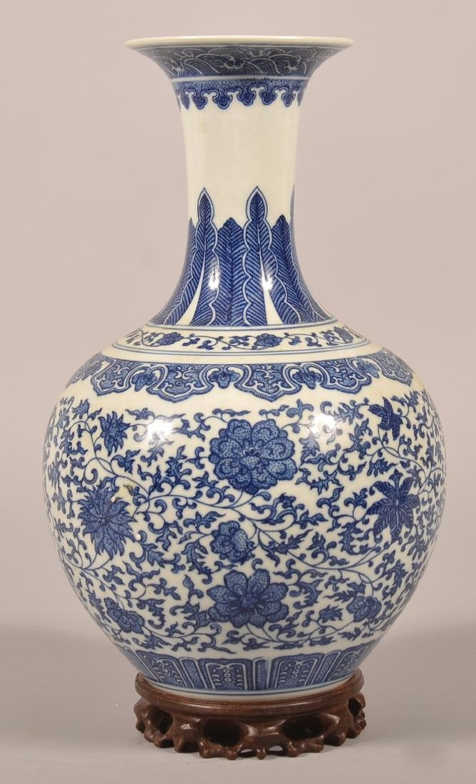 Chinese 18th Century Blue and White Porcelain Vase.