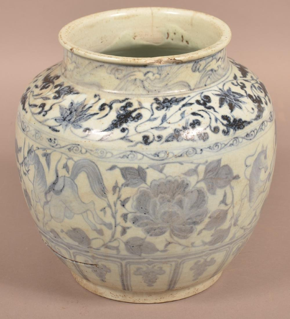 Large Chinese Ming Dynasty Blue and White Porcelain - 4