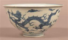 17th Century Chinese Blue & White Porcelain Dragon