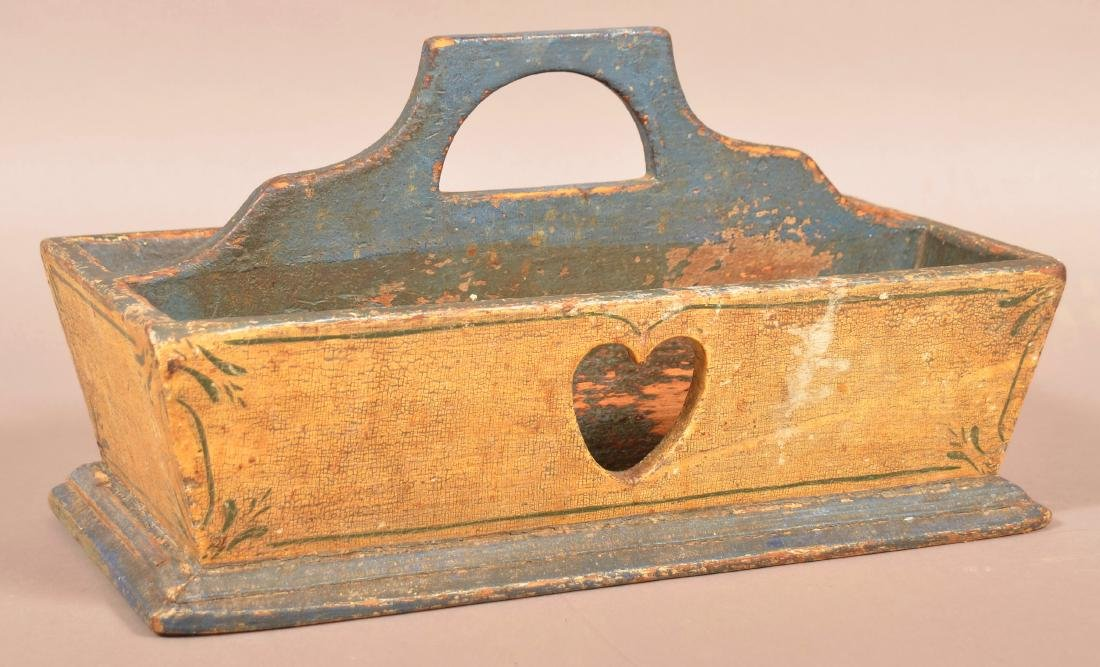 PA Yellow and Blue Painted Softwood Utensil Carrier.