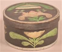 Polychrome Decorated Round Bentwood Ribbon Box.