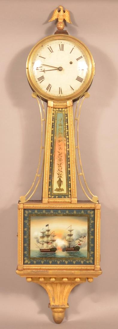 Unsigned 19th Century Rosewood Case Banjo Clock.