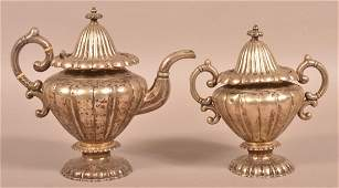 American Coin Silver Coffee Pot and covered Sugar Bowl