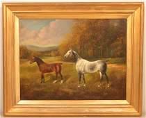 Herbert Jones Oil on Canvas Painting of Horses in
