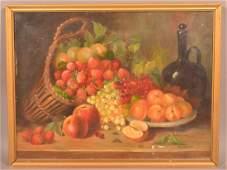 Annie Raworth Oil on Canvas Still Life of Fruit.