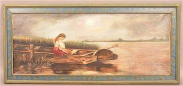 Oil on Canvas Young Lady In Boat Painting