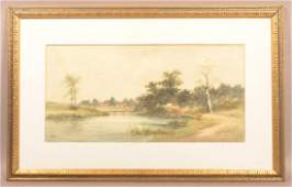 AL Cheney Watercolor on Paper Lake and Landscape