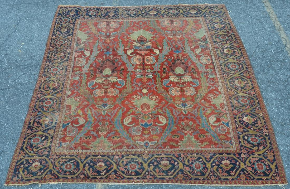 Antique Persian Sultanabad Pattern Room Size Rug.