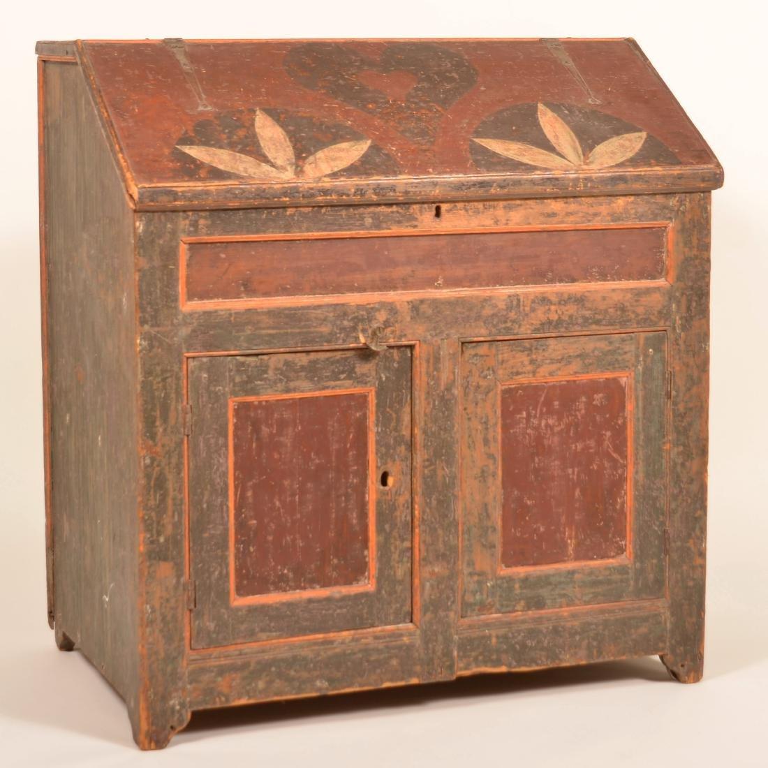 Johannes Spitler Paint decorated Pine Slant-lid Desk.